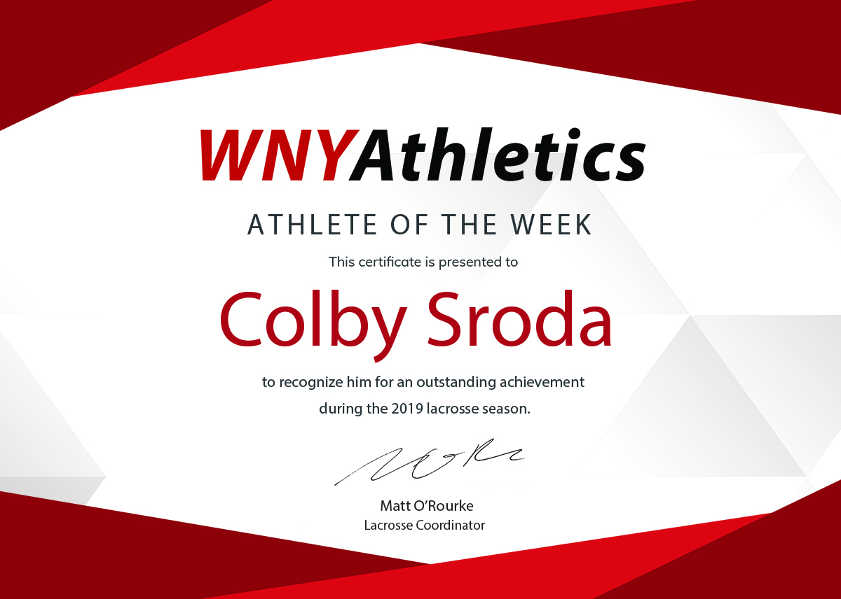 WNY Athletics Boys Lacrosse Athlete Of the Week: Colby Sroda