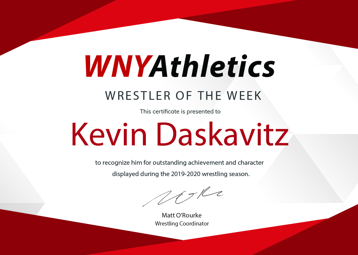 WNY Athletics Wrestler of the Week: Kevin Daskavitz