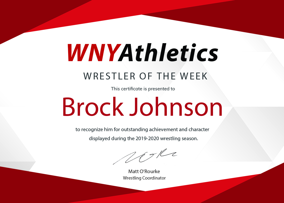WNY Athletics Wrestler of the Week: Brock Johnson