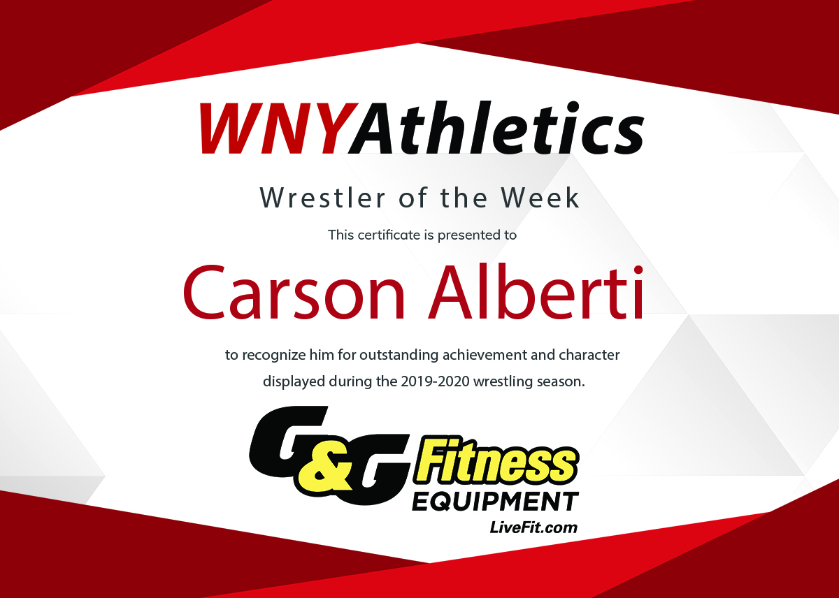 WNY Athletics Wrestler of the Week: Carson Alberti