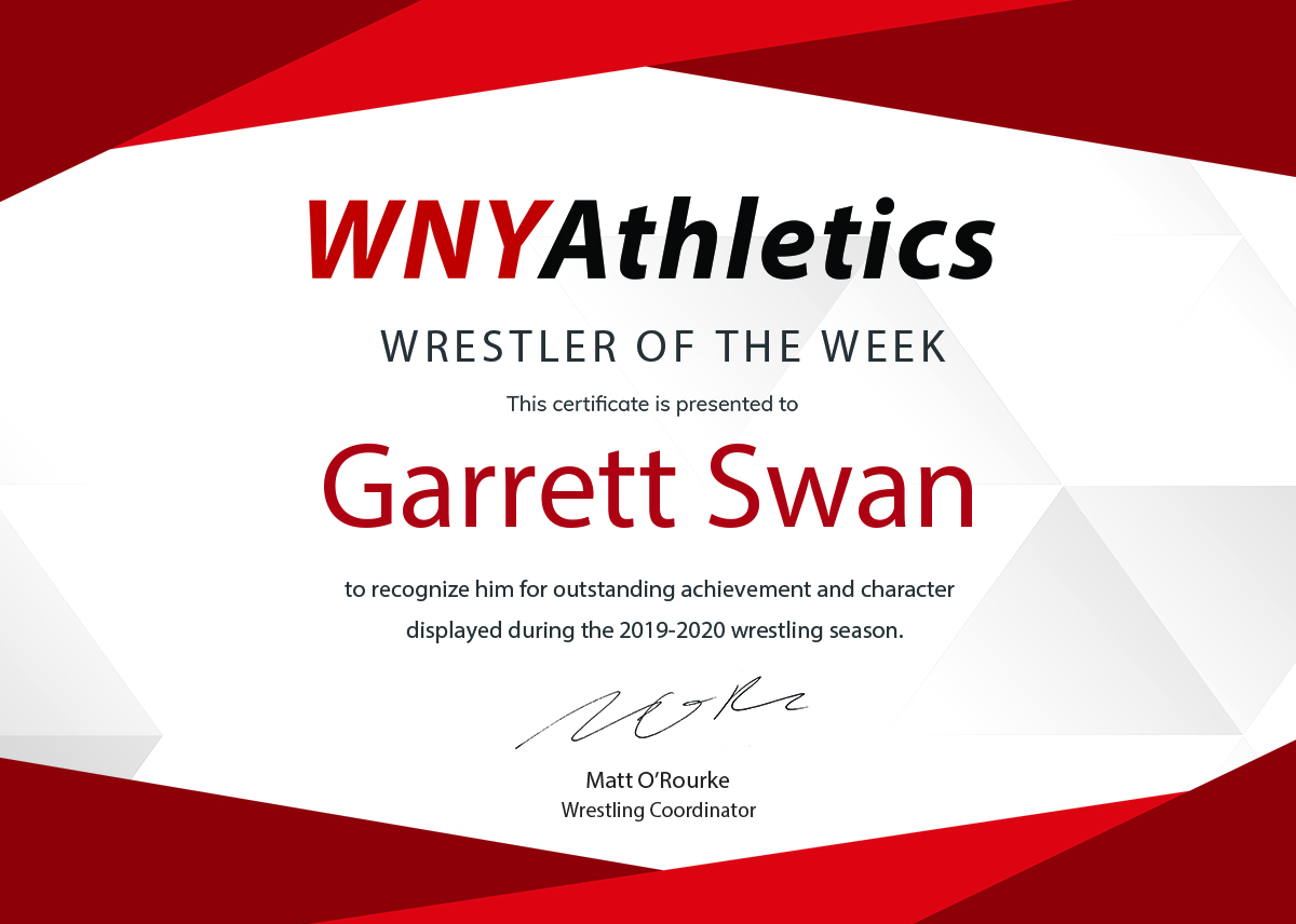 WNY Athletics Wrestler of the Week: Garrett Swan